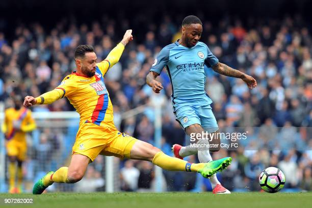 Manchester City v Crystal Palace Premier League Etihad Stadium Manchester City's Raheem Sterling and Crystal Palace's Damien Delaney in action