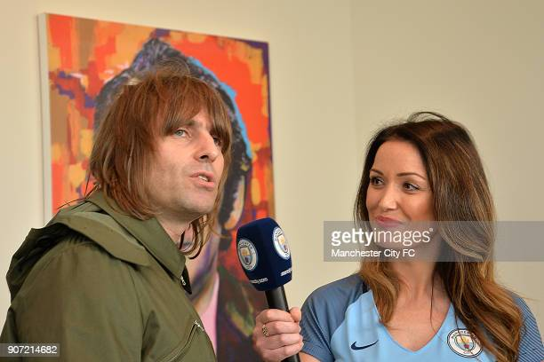 Manchester City v Everton Premier League Etihad Stadium Liam Gallagher is interviewed by Natalie Pike for Manchester City TV