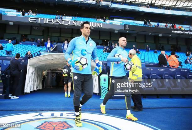 Manchester City v Everton Premier League Etihad Stadium Manchester City's Claudio Bravo and Willy Caballero warm up pre match
