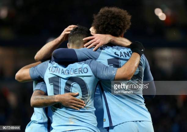 Manchester City v Huddersfield Town Emirates FA Cup Quarter Final Replay Etihad Stadium Manchester City's Sergio Aguero celebrates scoring his side's...