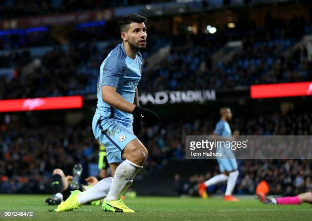Manchester City v Huddersfield Town Emirates FA Cup Quarter Final Replay Etihad Stadium Manchester City's Sergio Aguero scores his side's fourth goal...
