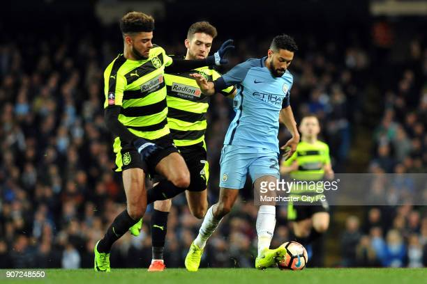 Manchester City v Huddersfield Town Emirates FA Cup Quarter Final Replay Etihad Stadium Manchester City's Gael Clichy and Huddersfield's Philip...