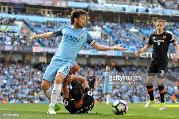 Manchester City v Hull City Premier League Etihad Stadium Manchester City's David Silva and Hull City's Ahmed Elmohamady in action during the...