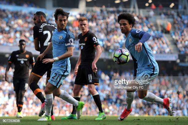 Manchester City v Hull City Premier League Etihad Stadium Manchester City's David Silva and Leroy Sane and Hull City's Ahmed Elmohamady in action...