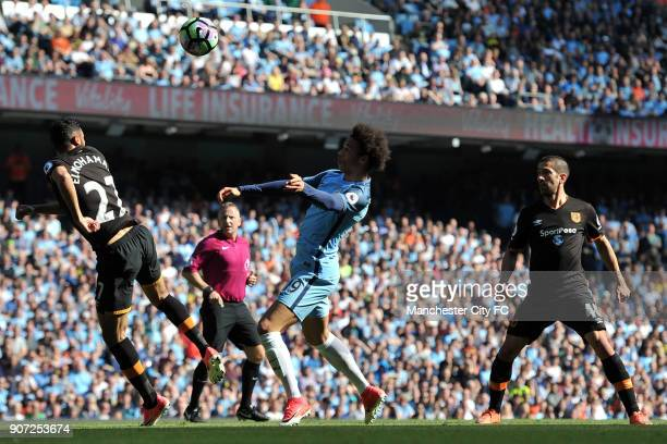 Manchester City v Hull City Premier League Etihad Stadium Manchester City's Leroy Sane and Hull City's Ahmed Elmohamady in action during the...