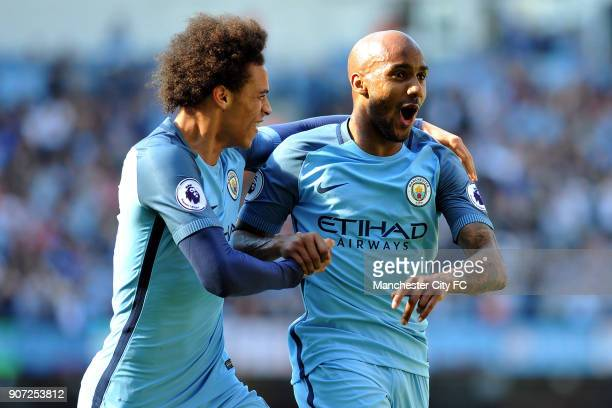Manchester City v Hull City Premier League Etihad Stadium Manchester City's Fabian Delph celebrates scoring his sides third goal with Leroy Sanel...