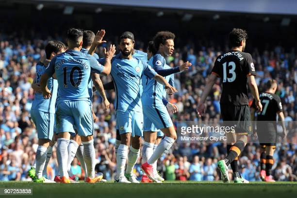 Manchester City v Hull City Premier League Etihad Stadium Manchester City players celebrate after Hull City's Ahmed Elmohamady put through his own...