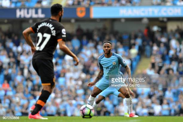 Manchester City v Hull City Premier League Etihad Stadium Manchester City's Raheem Sterling keeps an eye on Hull City's Ahmed Elmohamady in action...