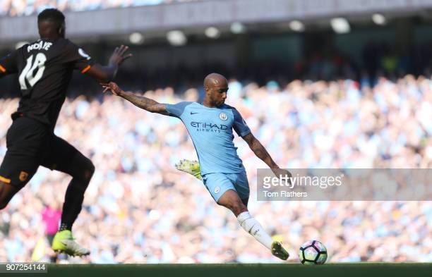 Manchester City v Hull City Premier League Etihad Stadium Manchester CIty's Fabian Delph scores against Hull City