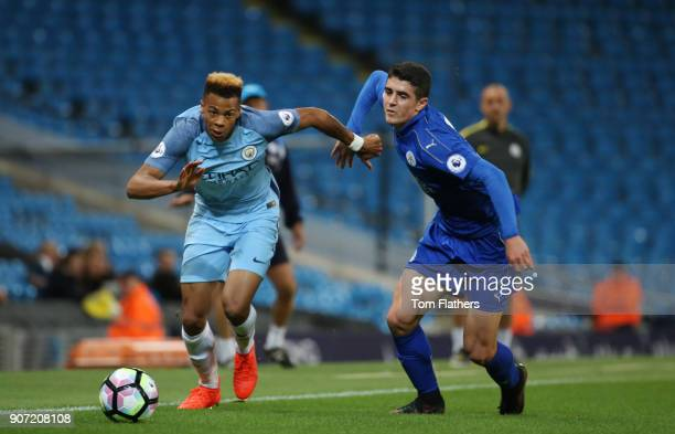 Manchester City v Leicester City Premier League 2 Etihad Stadium Lukas Nmecha of Manchester City is challenged by Alex Pascanu of Leicester City