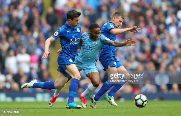 Manchester City v Leicester City Premier League Etihad Stadium Manchester City's Raheem Sterling battles for the ball with Leicester City's Marc...