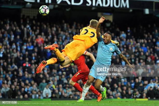 Manchester City v Liverpool Premier League Etihad Stadium Manchester City's Raheem Sterling and Liverpool's Simon Mignolet in action during the...