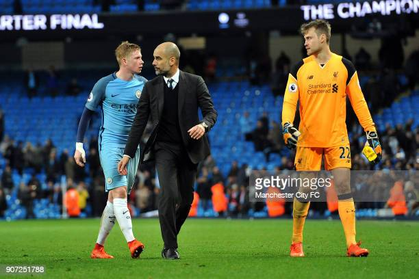 Manchester City v Liverpool Premier League Etihad Stadium Manchester City's Pep Guardiola and Kevin De Bruyne and Liverpool's Simon Mignolet after...