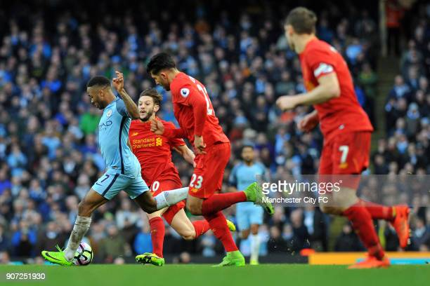 Manchester City v Liverpool Premier League Etihad Stadium Manchester City's Raheem Sterling and Liverpool's Adam Lallana in action during the...