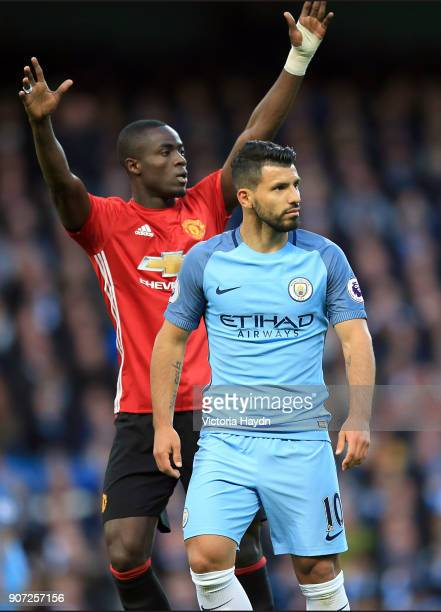 Manchester City v Manchester United Premier League Etihad Stadium Manchester United's Eric Bailly marks Manchester City's Sergio Aguero