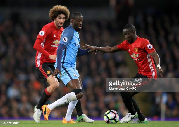 Manchester City v Manchester United Premier League Etihad Stadium Manchester City's Yaya Toure and Manchester United's Eric Bailly battle for the ball