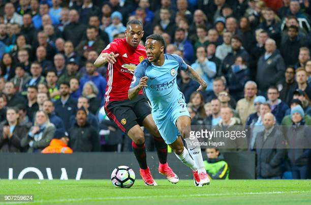 Manchester City v Manchester United Premier League Etihad Stadium Manchester United's Anthony Martial and Manchester City's Raheem Sterling battle...