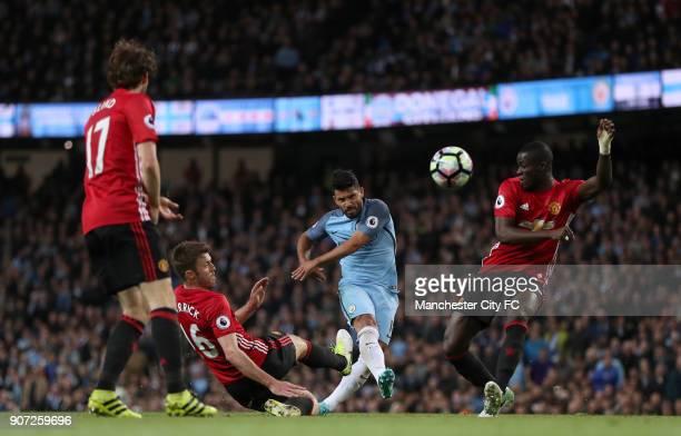 Manchester City v Manchester United Premier League Etihad Stadium Manchester City's Sergio Aguero hits a shot towards goal as Manchester United's...