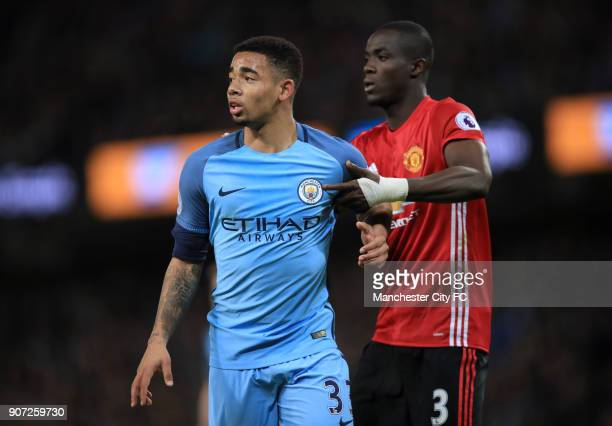 Manchester City v Manchester United Premier League Etihad Stadium Manchester City's Gabriel Jesus and Manchester United's Eric Bailly