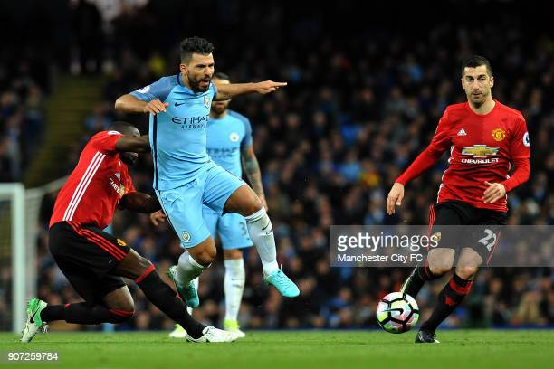 Manchester City v Manchester United Premier League Etihad Stadium Manchester City's Sergio Aguero and Manchester United's Eric Bailly and Henrikh...