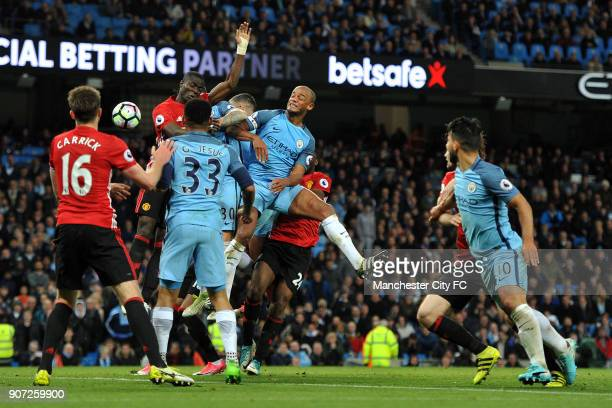 Manchester City v Manchester United Premier League Etihad Stadium Manchester City's Vincent Kompany and Manchester United's Eric Bailly in action...