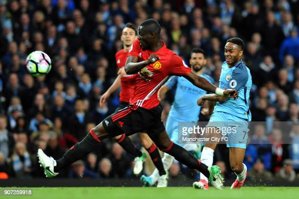 Manchester City v Manchester United Premier League Etihad Stadium Manchester City's Raheem Sterling and Manchester United's Eric Bailly in action...