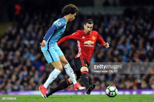 Manchester City v Manchester United Premier League Etihad Stadium Manchester City's Leroy Sane and Manchester United's Henrikh Mkhitaryan in action...