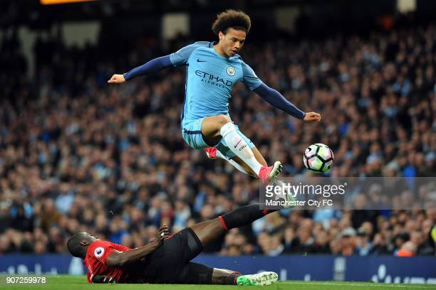 Manchester City v Manchester United Premier League Etihad Stadium Manchester City's Leroy Sane and Manchester United's Eric Bailly in action during...