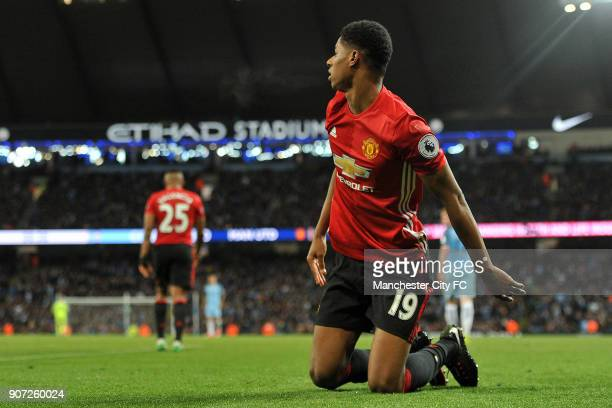 Manchester City v Manchester United Premier League Etihad Stadium Manchester United's Eric Bailly and Marcus Rashford in action during the Barclay's...