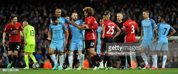 Manchester City v Manchester United Premier League Etihad Stadium Manchester United's Maruane Fellaini is sent off after clashing with Manchester...