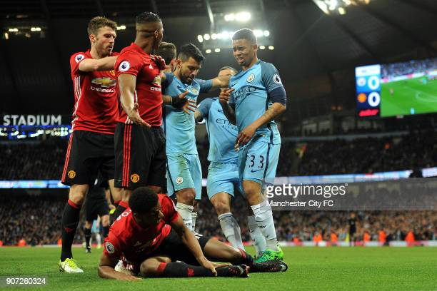 Manchester City v Manchester United Premier League Etihad Stadium Manchester City's Gabriel Jesus and Manchester United's Marcus Rashford in action...