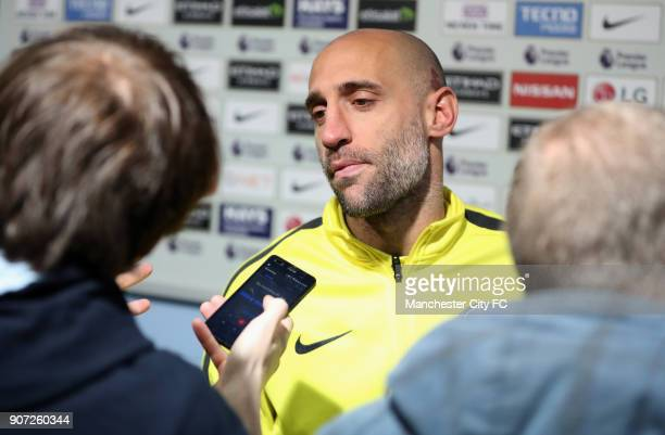 Manchester City v Manchester United Premier League Etihad Stadium Manchester City's Pablo Zabaleta is interviewed by the media after the game