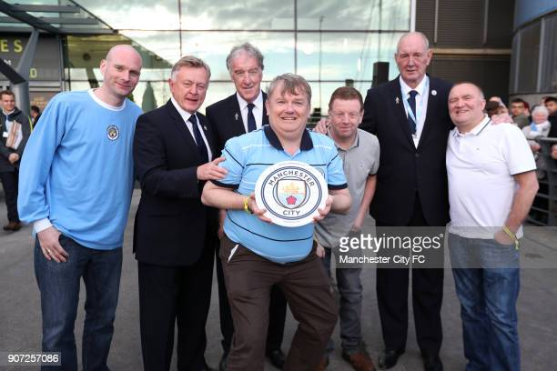 Manchester City v Manchester United Premier League Etihad Stadium The Galway branch of the Manchester City supporters club recieve an award before...