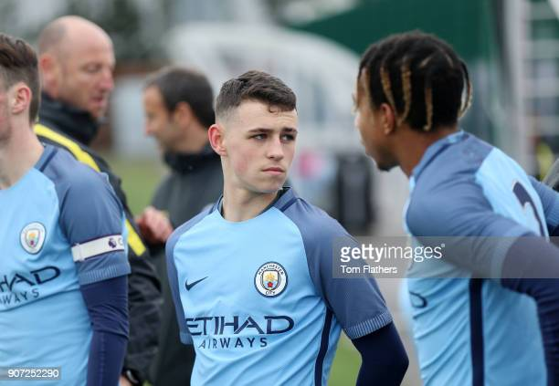 Manchester City v Manchester United U18 Premier League City Football Academy Manchester City's Phil Foden