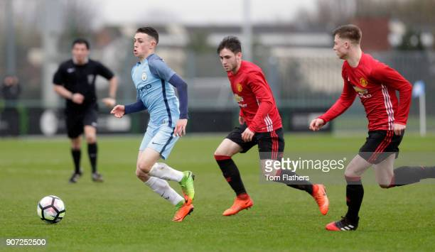 Manchester City v Manchester United U18 Premier League City Football Academy Manchester City's Phil Foden in action against Manchester United