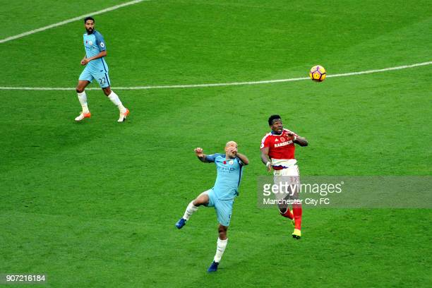Manchester City v Midlesbrough Premier League Etihad Stadium Manchester City's Gael Clichy and Pablo Zabaleta and Middlesbrough's Adama Traori in...