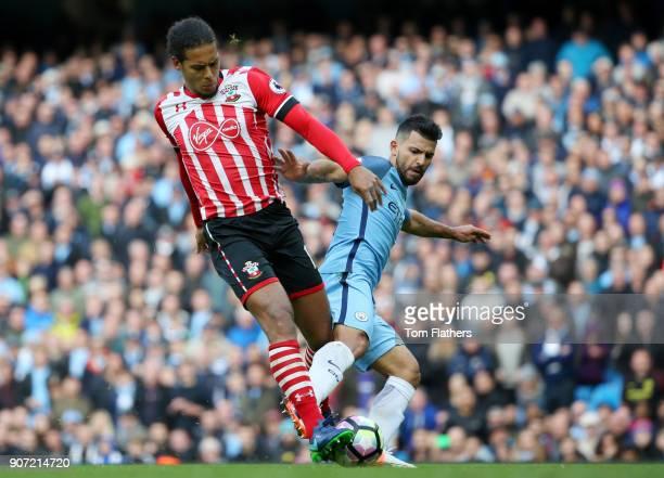 Manchester City v Southampton Premier League Etihad Stadium Manchester City's Sergio Aguero is challenged by Southampton's Virgil Van Dijk