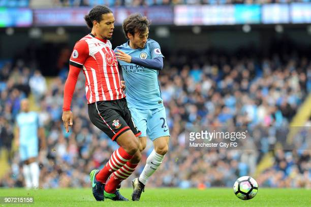 Manchester City v Southampton Premier League Etihad Stadium Manchester City's David Silva and Southampton's Virgil van Dijk in action during the...