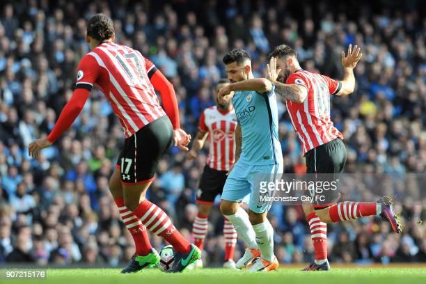 Manchester City v Southampton Premier League Etihad Stadium Manchester City's Sergio Aguero and Southampton's Virgil van Dijk and Charlie Austin in...