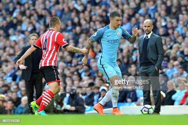 Manchester City v Southampton Premier League Etihad Stadium Manchester City's Aleksandar Kolarov and Southampton's Jordy Clasie in action during the...