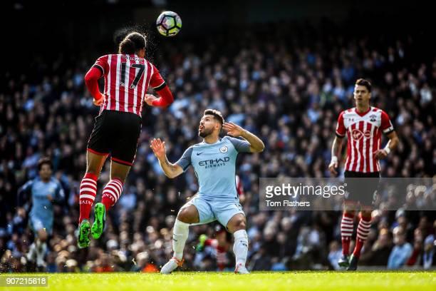 Manchester City v Southampton Premier League Etihad Stadium Manchester City's Sergio Aguero and Southamptons Virgil Van Dijk