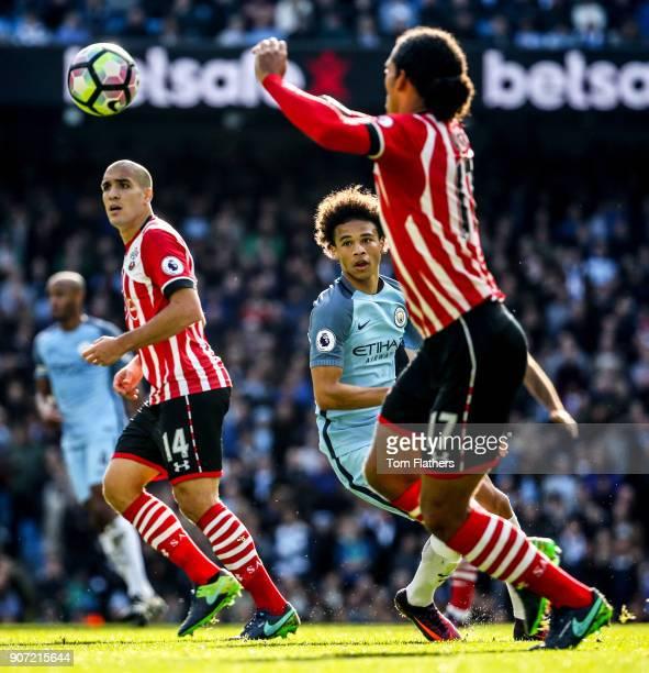 Manchester City v Southampton Premier League Etihad Stadium Manchester City's Leroy Sane and Southamptons Virgil Van Dijk
