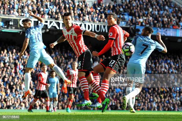 Manchester City v Southampton Premier League Etihad Stadium Manchester City's Sergio Aguero and Raheem Sterling and Southampton's Jose Fonte and...