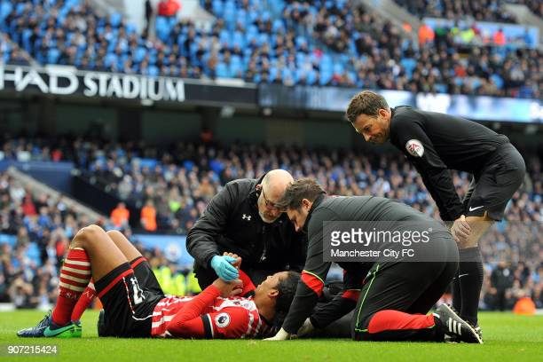 Manchester City v Southampton Premier League Etihad Stadium Southampton's Virgil van Dijk receives treatment for a injury during the Barclay's...