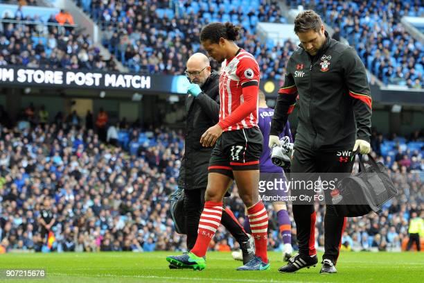 Manchester City v Southampton Premier League Etihad Stadium Southampton's Virgil van Dijk limps off with a injury during the Barclay's Premiership...