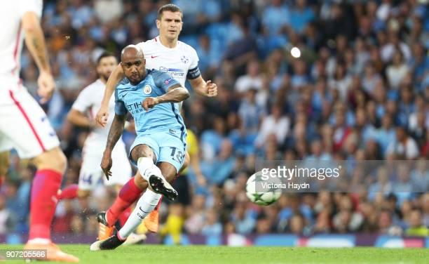 Manchester City v Steaua Bucharest UEFA Champions League Playoff Round Second Leg Etihad Stadium Manchester City's Fabian Delph takes a shot on goal