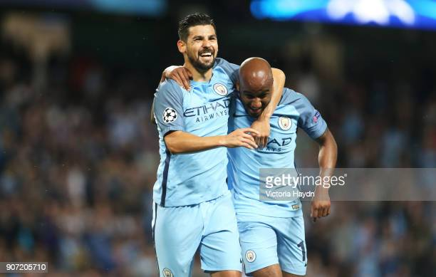 Manchester City v Steaua Bucharest UEFA Champions League Playoff Round Second Leg Etihad Stadium Manchester City's Nolito and Fabian Delph celebrate