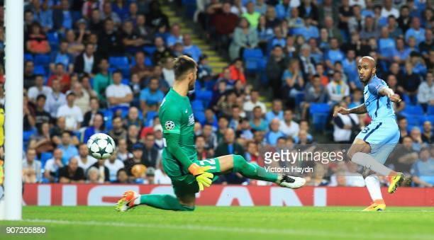 Manchester City v Steaua Bucharest UEFA Champions League Playoff Round Second Leg Etihad Stadium Manchester City's Fabian Delph scores