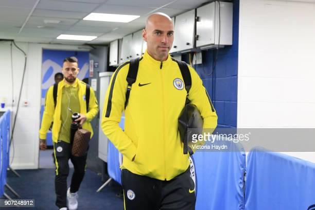 Manchester City v Stoke City Premier League Etihad Stadium Manchester City goalkeeper Willy Caballero arrives before the game