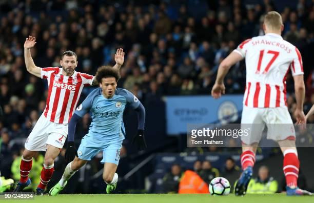 Manchester City v Stoke City Premier League Etihad Stadium Stoke City's Phil Bardsley fouls Manchester City's Leroy Sane
